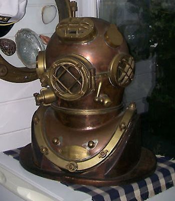 Vintage Brass & Copper Diving Helmet Table Divers Decor Scuba SCA US Navy Mark V