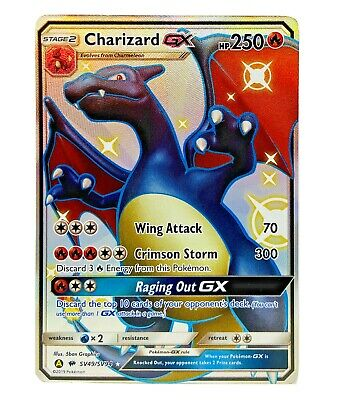 Mint Rare Charizard GX SV49/SV94 Holo Full Art Pokémon Hidden Fates Shiny Vault