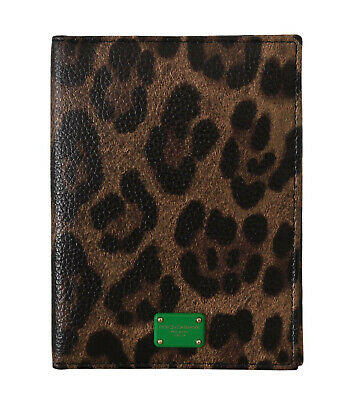 DOLCE & GABBANA Cardholder Wallet Brown Leopard Print Leather Bifold Passport
