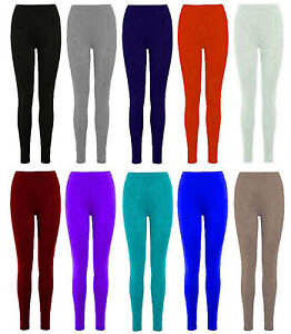 New-Ladies-Womens-Full-Length-Leggings-Womens-Stretchy-Trousers-Size-8-14