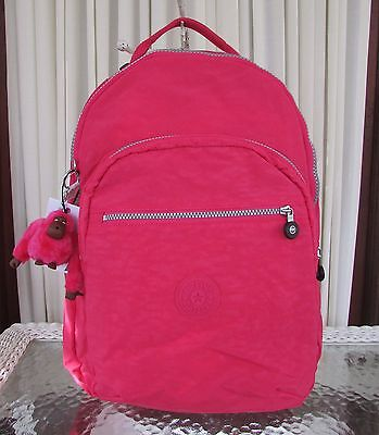 Kipling Seoul Backpack with Laptop Protection Vibrant Pink School Bag BP3020 NWT