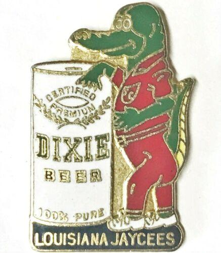 Louisiana Jaycees Vintage Certified Premium Dixie Beer Can Alligator Lapel Pin