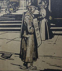 """William Nicholson 1898 Types de Londres London L'Homme Sandwich Man - France - LITHOGRAPHIE ORIGINALE EN COULEURS DAPRS LES BOIS GRAVÉS PAR WILLIAM NICHOLSON 1898 (Paris, Floury) EXTRAITE DE L'OUVRAGE """"LES TYPES DE LONDRES"""" 1898 (imprimé 600 exemplaires sur vélin fort et 40 sur Japon) 1 FEUILLE 34 x 28 CM. LITHO 25,5 x 2 - France"""