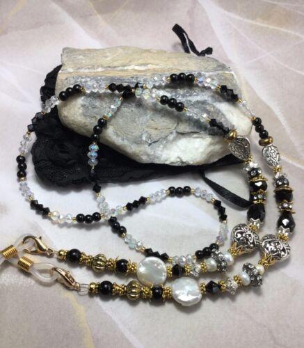 Handmade Healing Jasper Stone Eyeglass Holder/Lanyard W/Swarovski Elements USA
