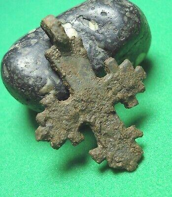 Ancient Bronze Cross Wearable Pendant Antique Rare C211