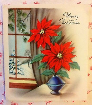 Vintage 1940s Christmas Greeting Card with Cobalt Blue Vase of Red Poinsettias