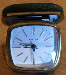 Vintage Europa 2 Jewel Germany Folding Travel Alarm Clock Green Case