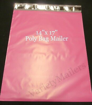 50 Pink 14x 17 Poly Bag Shipping Envelopes Self-sealing Postal Mailers