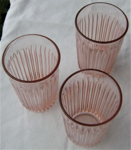 """3 - Old Colony 4.5"""" Flat 9oz. Pink Water Tumblers from Hocking Glass 1935-1938"""
