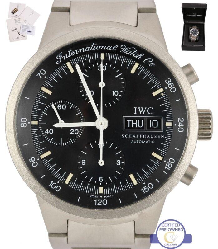 Iwc Gst Chronograph Automatic Titanium Iw370703 3707 3707-003 Black Date Watch