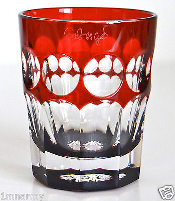 FABERGE NA ZDOROVYE VODKA SHOT GLASS, RUBY RED CASED CRYSTAL, SIGNED