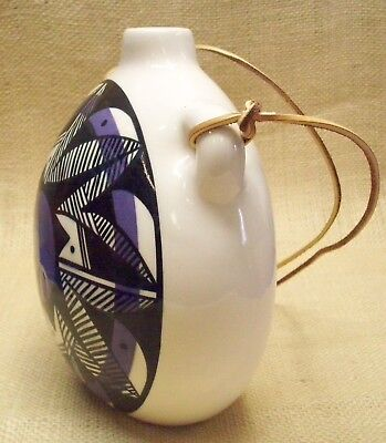 Ute Mountain Native American Pottery Lg White/Purple Canteen Traditional Design 1