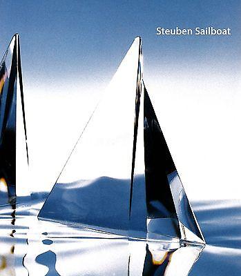 NEW in BOX STEUBEN Glass SAILBOAT crystal ornament sculpture sail board regatta