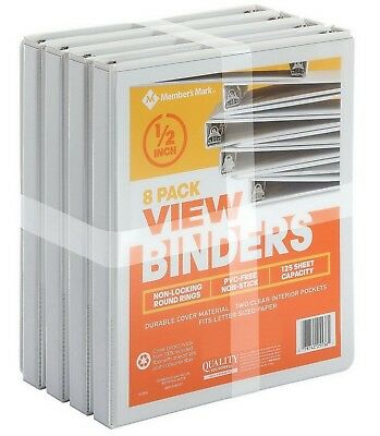 Members Mark 12 Round-ring View Binder White 8 Pk - Just In Time For School