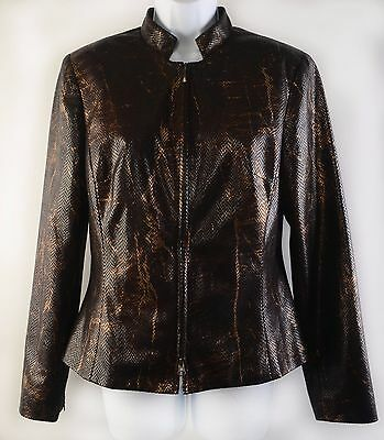 Cache 2-Piece Pant Suit Snake Print Brown Gold Foil Shimmer Lined Size 10 EUC