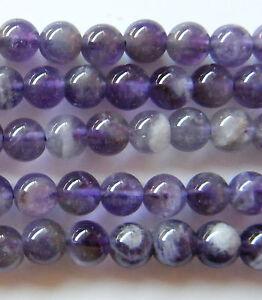 50pcs 6mm Round Natural Gemstone Beads - Amethyst