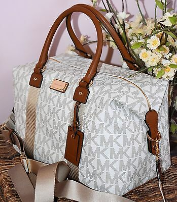 Michael Kors Travel  MK Signature Vanilla PVC Duffle Carryall Bag Lrg Weekender