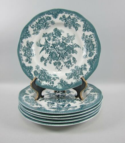 Lot of 6 Wedgwood China ASIATIC PHEASANTS-TEAL Dinner Plates