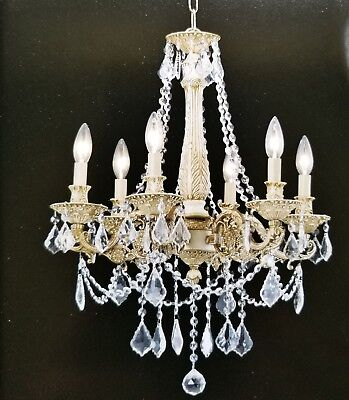Palace Royal 6 Light  Antique White Crystal Chandelier 20X25