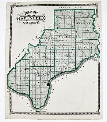 1876 Spencer Indiana Map Warrick County Boonville Rockport Ohio River Plats 1876 Indiana County Map