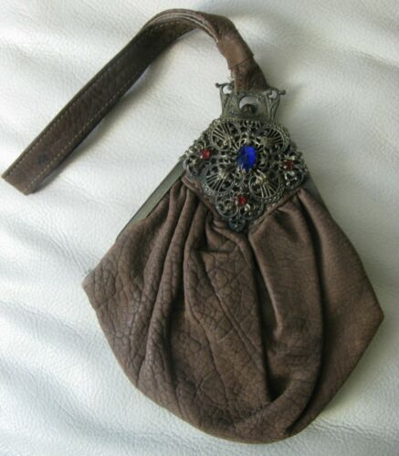Antique Victorian Gold Filigree Cobalt Blue Red Jewel Frame Suede Leather Purse