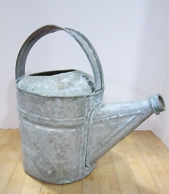 Vintge primitive Galvanized watering can- green paint remnants- Rustic Farmhouse