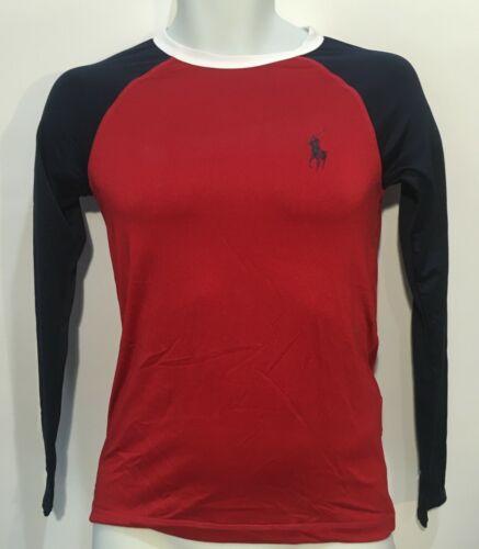 Polo Ralph Lauren Boys Long Sleeve Swim Rash Guard Navy/Red/White Sz L (14-16)
