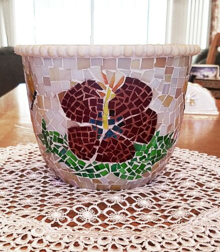 Handmade by author stained glass mosaic Hibiscuses and Butterflies Flower Vase