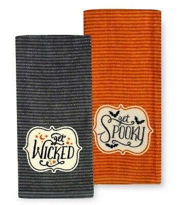 """Halloween Dish Towels (Set/2 """"Get Wicked"""" """"Get Spooky"""" Kitchen Dish Towel Halloween 16.5x26)"""