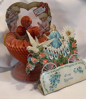 3 Antique Victorian Die Cut Honeycomb VALENTINE'S DAY Cards Scraps Craft Decor