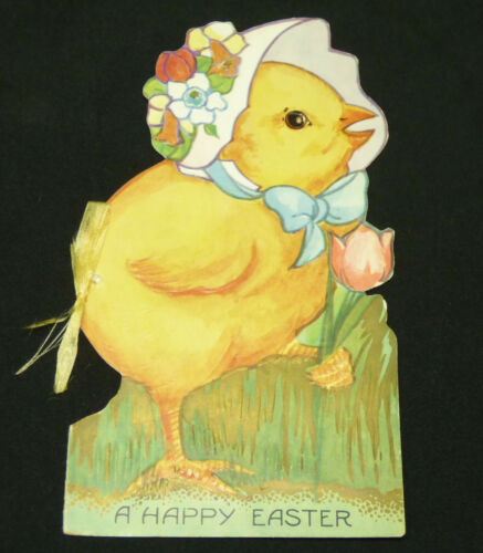 Antique Vtg 1920s Paper Litho Easter Chick Die Cut Greeting Card Booklet w Story