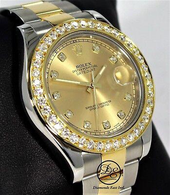 Rolex Datejust II 116333 41mm 18K Y Gold /SS 3.35CT Bezel Fact Diamond Dial MINT