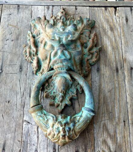 "Vntg Style 15"" English Victorian Georgian Cast Iron Lion Door Knocker Gothic"