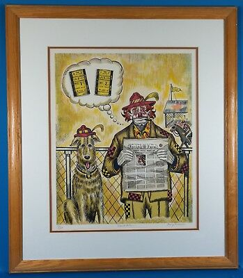 """George Crionas Signed """"Track Pals""""  Limited Edition Lithograph Well Framed"""