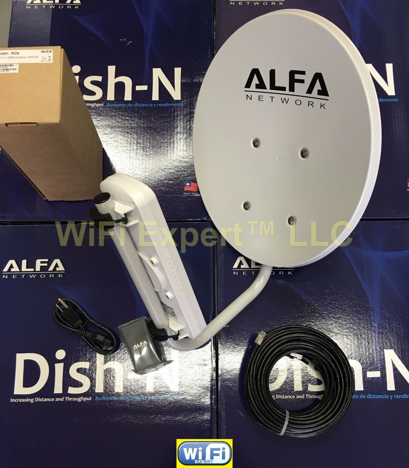 WiFi DISH N 22dBi + N2S PoE Cat5e Outdoor LONG Range Booster