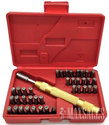 38PC LETTER NUMBER STAMPING STAMP TOOL SET KIT AUTOMATIC METAL PUNCH - Set Number