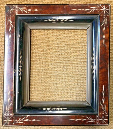 """Vintage Victorian Eastlake Deep Picture Frame, Burl, Black, Gold Gilt 13""""x15"""""""