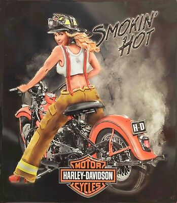 Harley Davidson Hot Firefighter Pinup Girl 8X10 Photo Motorcycle Man Cave - Firefighter Girls