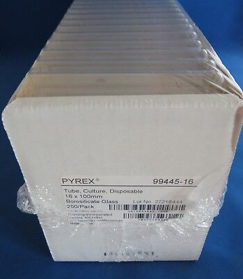 Pack 250 Pyrex Disposable Culture Tubes 15ml 16mm X 100mm 99445-16