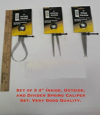 4 Set Of 3 Inside Outside And Divider Spring Caliper Set. Very Good Quality