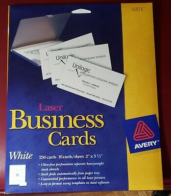 Avery 5371 White Laser Printer Business Cards 10 Sheets250 Cards