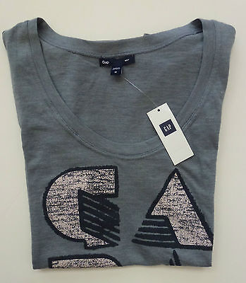 Womens Gap Logo S/s Gray T-shirt Size S, M -