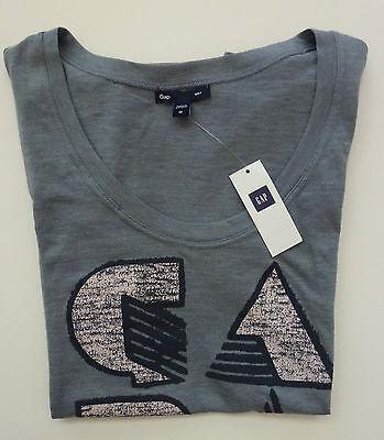Womens Gap Logo S/s Gray T-shirt Size S, M -