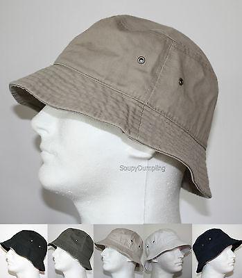 100% Cotton Fishing Bucket Hat Gilligan - Beige Black Green Navy White S/m L/xl