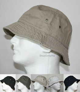 MEN-100-COTTON-FISHING-BUCKET-HAT-CAP-BEIGE-BLACK-GREEN-NAVY-WHITE-S-M-L-XL