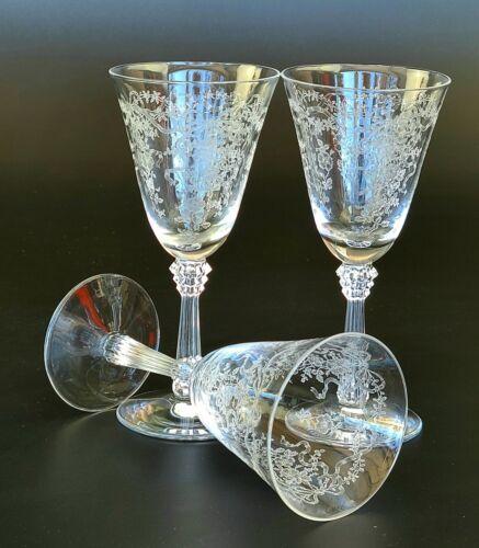 Vintage Romance by Fostoria -  Set of 3 - Claret Wine Glasses