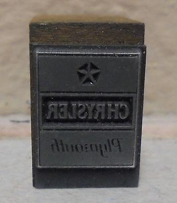 Vintage Chrysler Plymouth Car Logo Metal Wood Letterpress Printing Block Type