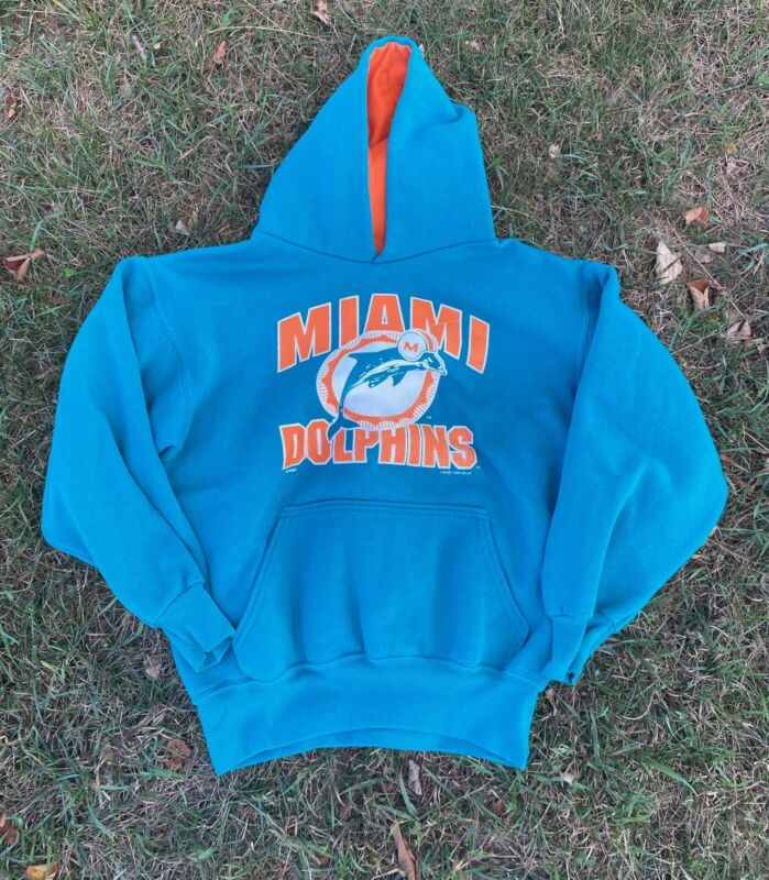Vintage 1995 Miami Dolphins Kids Hooded Sweatshirt Size XL (18-20)