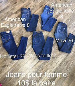 Jeans pour femme taille 26 à 28 de marques