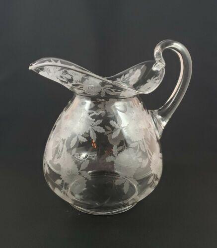 Cambridge Glass Doulton Pitcher Jug Etched Blossom Time
